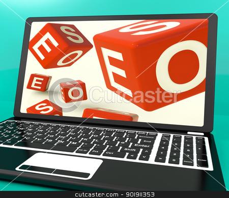 Seo Dice On Laptop Showing Online Web Optimization stock photo, Seo Dice On Laptop Shows Online Web Optimization by stuartmiles