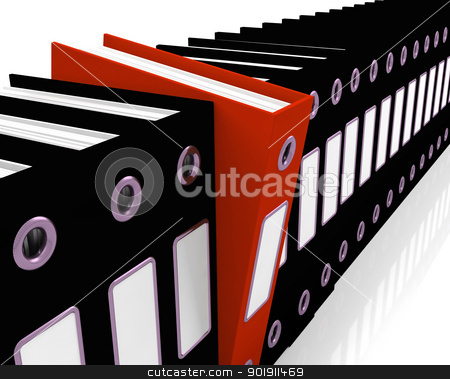 Red File Amongst Black For Getting Office Organized stock photo, Red File Amongst Black Ones For Getting Office Organized by stuartmiles