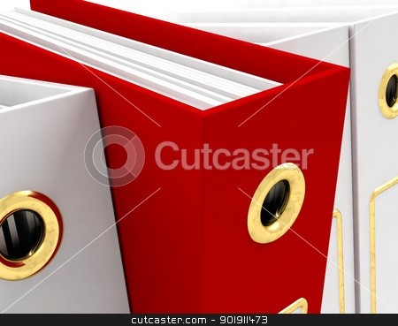 Red File Amongst White Closeup For Getting Office Organized stock photo, Red File Amongst White Closeup For Getting The Office Organized by stuartmiles