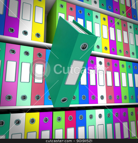 Shelves Of Files With One Falling For Getting Paperwork Organize stock photo, Shelves Of Files With One Falling For Getting The Paperwork Organized by stuartmiles