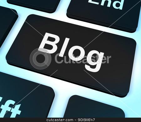 Blog Computer Key For Blogger Website stock photo, Blog Computer Key For Blogger Websites by stuartmiles