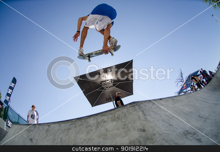 Joao Sa grab during pool trainings stock photo, VISEU, PORTUGAL - JULY 22: Joao Sa grab during pool trainings at DC Skate challenge by MEO on july 22, 2012 in Viseu, Portugal. by Homydesign