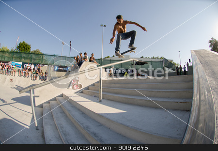 Pedro Roseiro stock photo, VISEU, PORTUGAL - JULY 22: Pedro Roseiro at DC Skate challenge by MEO on july 22, 2012 in Viseu, Portugal. by Homydesign