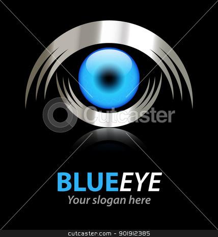 Blue eye vector logo stock vector clipart, Design of creative corporate metallic logo with a slogan baseline by Vladimir Repka