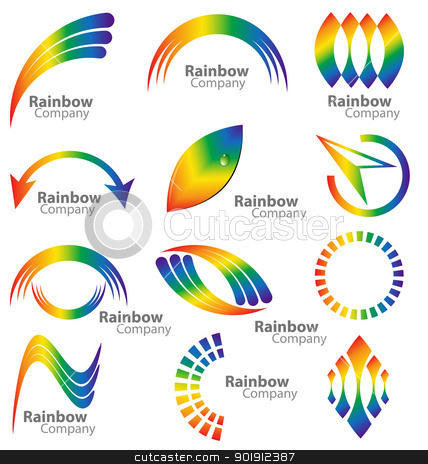 Rainbow logo vector collection stock vector clipart, Creative design of a multiple logos in  the rainbow color palette by Vladimir Repka