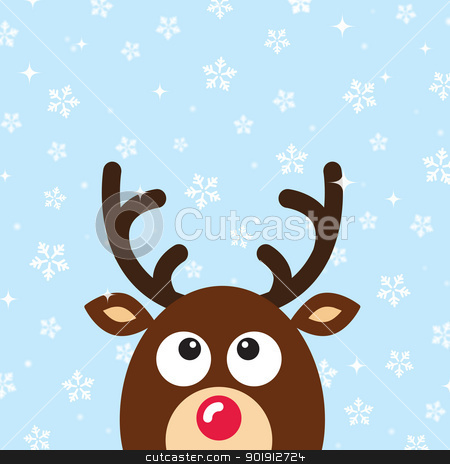 Vector Reindeer Christmas Card with snow background stock vector clipart, Xmas card with reindeer and snowflakes by Agnieszka Murphy