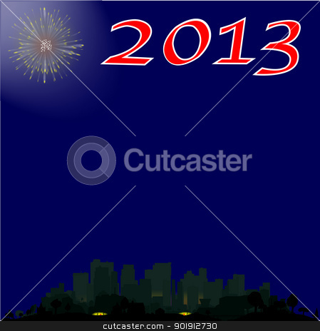 First of the Night stock vector clipart, A single firework burst over a city with the inscription 2013. The first rocket of the evening. by Kotto