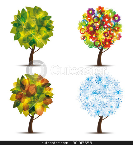 trees stock vector clipart, Four season trees. Spring, summer, autumn, winter  by Miroslava Hlavacova