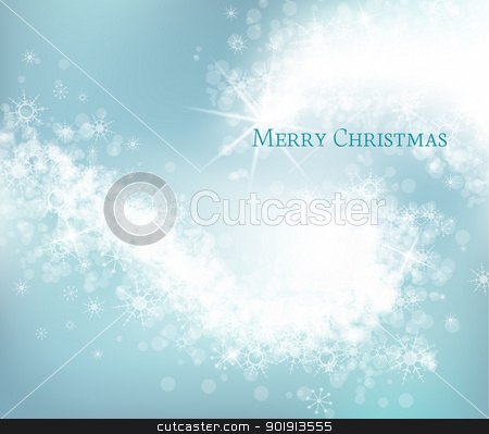 Christmas background stock vector clipart, Light blue abstract Christmas background with white snowflakes  by Miroslava Hlavacova