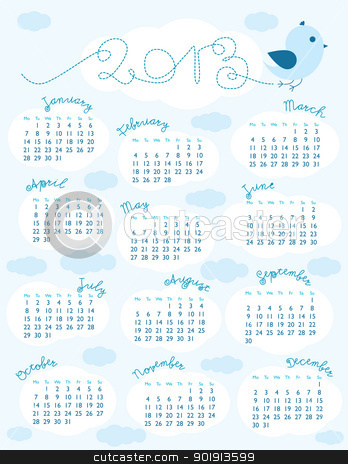 2013 calendar  stock vector clipart, Little Blue Bird calendar for 2013 starting with Monday by nahhan