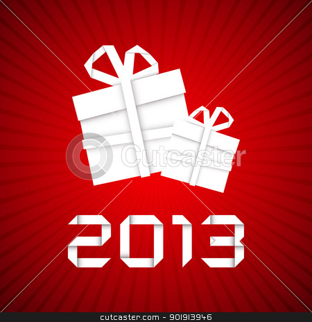 Christmas gift from white paper, new year card stock vector clipart, Christmas gift from white paper, new year card, red background by kurkalukas