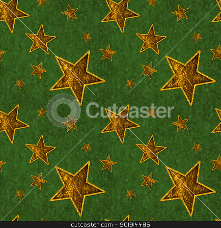 Seamless Gold Stars on Deep Green stock photo, Seamless pattern of shiny gold stars on textured deep green background by SongPixels