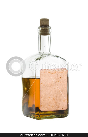Antique bottle of spirits stock photo, Antique bottle of spirits, isolated over a white background by Grafvision