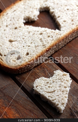 bread slice heart stock photo, bread slice heart by Tobias Arhelger