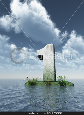 number one stock photo, stone number one at the ocean - 3d illustration by J?