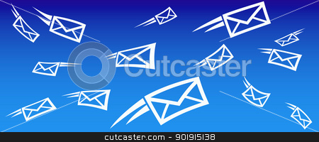 email background stock vector clipart, sending and receiving email background concept with flying mail by Fenton