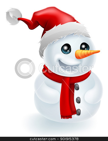 Santa Hat Christmas Snowman stock vector clipart, Christmas Snowman wearing a Santa Hat and red scarf by Christos Georghiou
