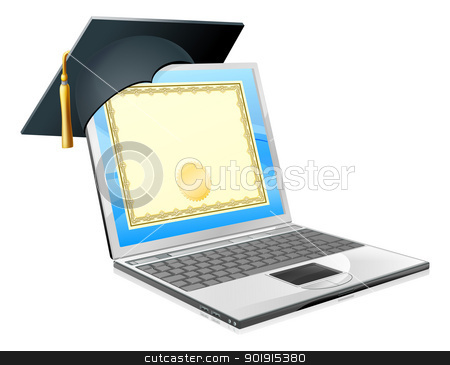 Education laptop concept stock vector clipart, Education laptop concept. Illustration of a laptop computer with a mortar board cap and diploma certificate on screen. Concept for distance learning, or IT computer courses, or other similar education themes. by Christos Georghiou
