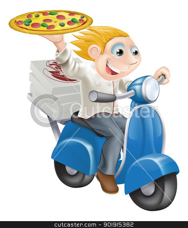 Fast food pizza delivery stock vector clipart, Graphic of a fast food pizza chef speeding along in his chef whites delivering pizza. by Christos Georghiou
