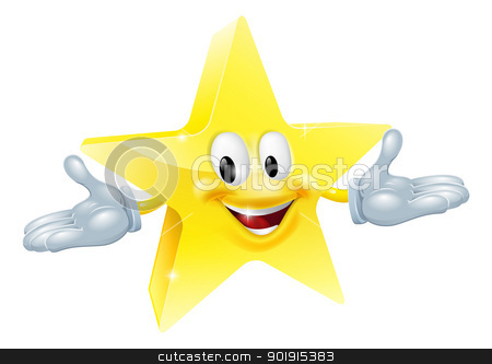 Star man character  stock vector clipart, An illustration of a smiling gold star character  by Christos Georghiou