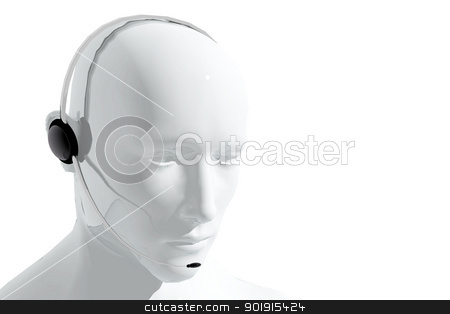 Call center receptionist answering call stock photo, Call center receptionist answering call by genialbaron