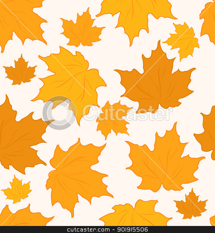 Autumnal maple leaves, seamless background - vector stock vector clipart, Illustration autumnal maple leaves, seamless background - vector by -=Mad Dog=-