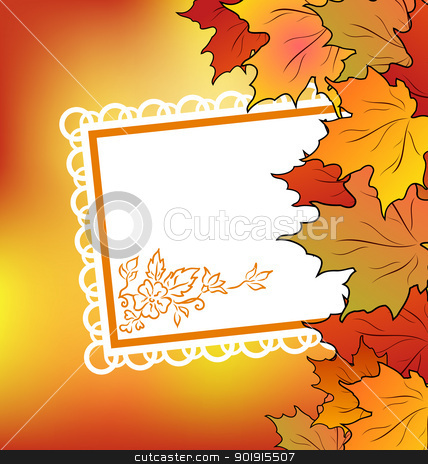 Autumn maple leaves with floral greeting card stock vector clipart, Illustration autumn maple leaves with floral greeting card - vector by -=Mad Dog=-