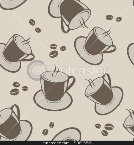Seamless background with coffee cups and beans stock vector clipart, Illustration seamless background with coffee cups and beans - vector by -=Mad Dog=-