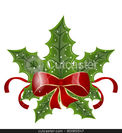 Christmas holly berry branches and bow isolated on white backgro stock vector clipart, Illustration Christmas holly berry branches and bow isolated on white background - vector by -=Mad Dog=-