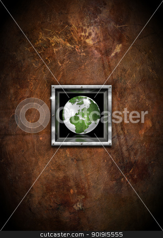 Eco Grunge Background stock photo, Brown eco grunge background with Green Globe in a metal frame  by catalby