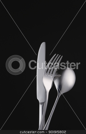 utensils stock photo, fork spoon and knife by eskaylim
