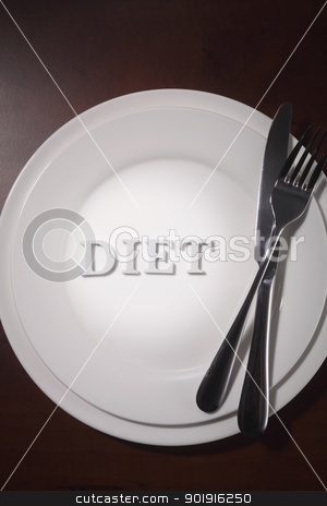 diet stock photo, Plate with word diet on the plate by eskaylim