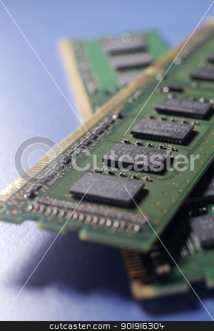 Computer RAM stock photo, close up Computer memory chips. RAM  by eskaylim