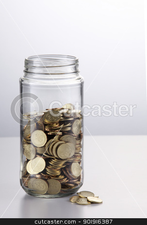 saving stock photo, Change in a jar on the white background by eskaylim