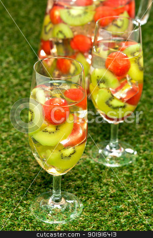 Kiwi Melon Sangria stock photo, Kiwi Melon Sangria in nice summer colors by Ulrich Schade