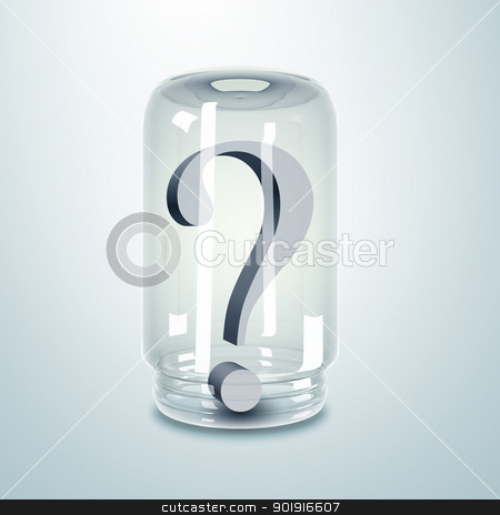 Question mark inside a glass jar stock photo, Grey color question mark inside a glass jar by Sergey Nivens