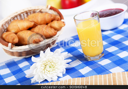 Continental breakfast stock photo, Continental breakfast with croisant and orane juice by Sergey Nivens