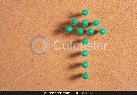 arrow stock photo, push pin form a arrow sign by eskaylim