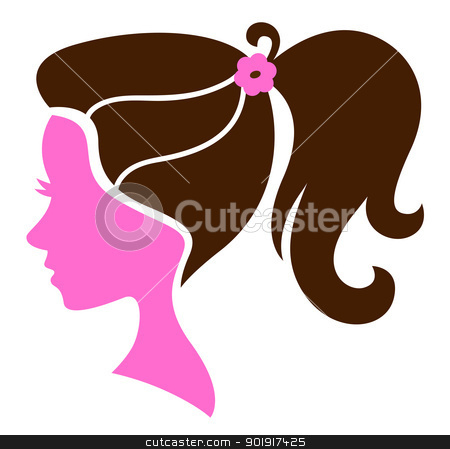 Beautiful female hairstyle silhouette isolated on white stock vector clipart, Female silhouette with elegant hairstyle. Vector by BEEANDGLOW