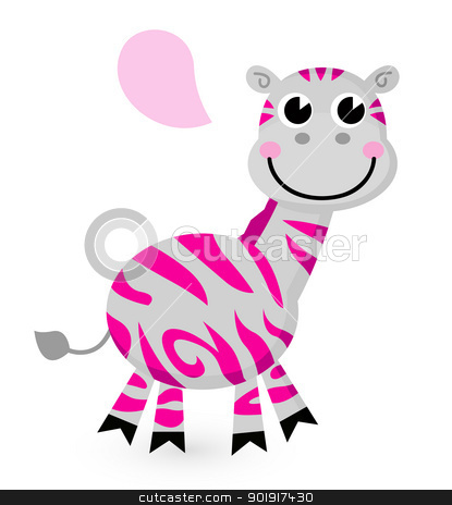 Cute pink zebra isolated on white stock vector clipart, Zebra with speech bubble. Vector cartoon Illustration by BEEANDGLOW