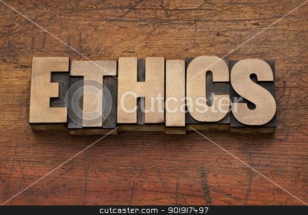 ethics word in wood type stock photo, ethics word in vintage letterpress printing blocks against grunge wood background by Marek Uliasz