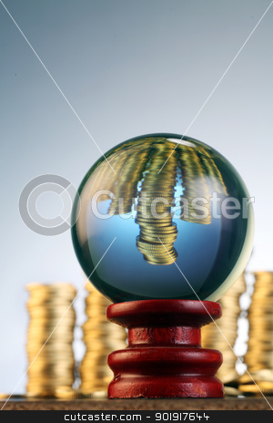 Economic future stock photo,  conceptual image  coin in the crystal ball by eskaylim