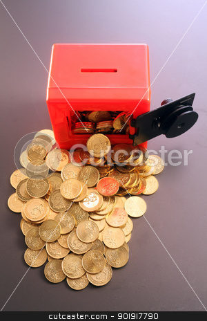 Safe with Coins stock photo, Toy Safe with Gold Coins by eskaylim
