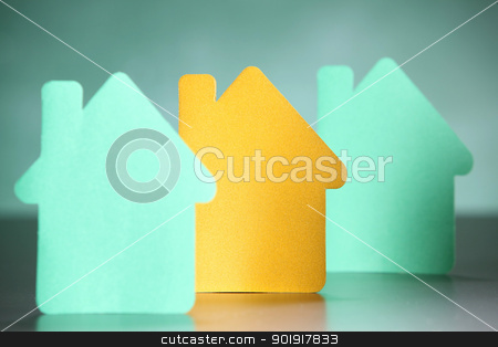 home stock photo, Paper cut out of home  by eskaylim
