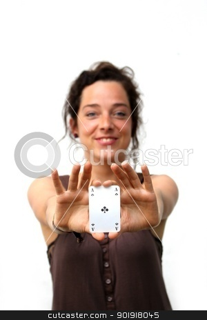 young woman holding a ace playing card stock photo, young woman holding a ace playing card by Tobias Arhelger