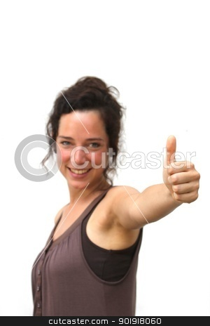 young woman showing thump up stock photo, young woman showing thump up by Tobias Arhelger