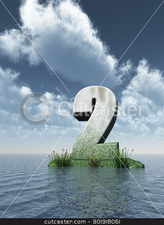 number two stock photo, stone number two at the ocean - 3d illustration by J?