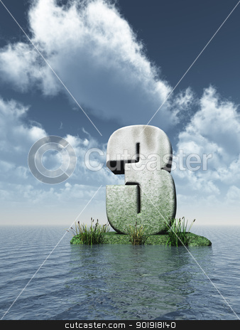number three stock photo, stone number three at the ocean - 3d illustration by J?