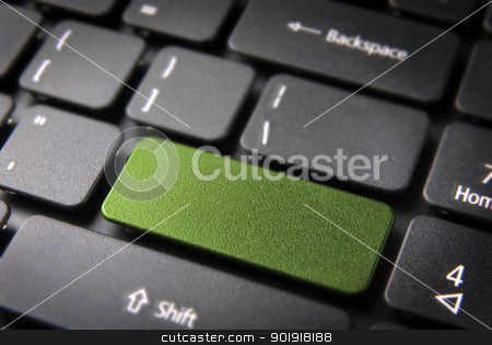 Green keyboard key stock photo, Green key on laptop keyboard with blank space. Included clipping path, so you can easily edit it and include your own color, text or icon. by Cienpies Design