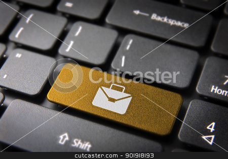 Yellow keyboard key portfolio, business background stock photo, Professional business online key with portfolio icon on laptop keyboard. Included clipping path, so you can easily edit it. by Cienpies Design